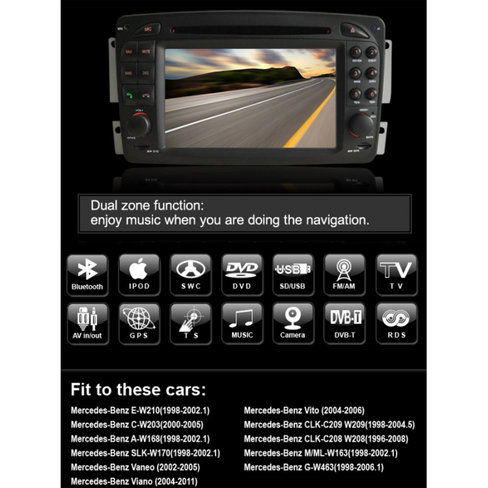 Double Din Car DVD with GPS Navigation Mercedes-Benz C-Class W203